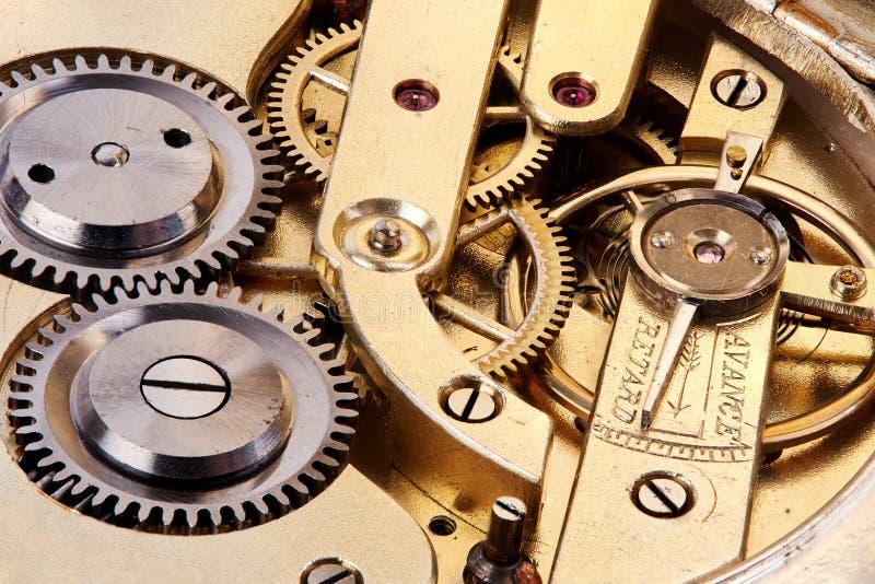 Gears of antique pocket watch. Macro of gears of old antique pocket watch stock photos