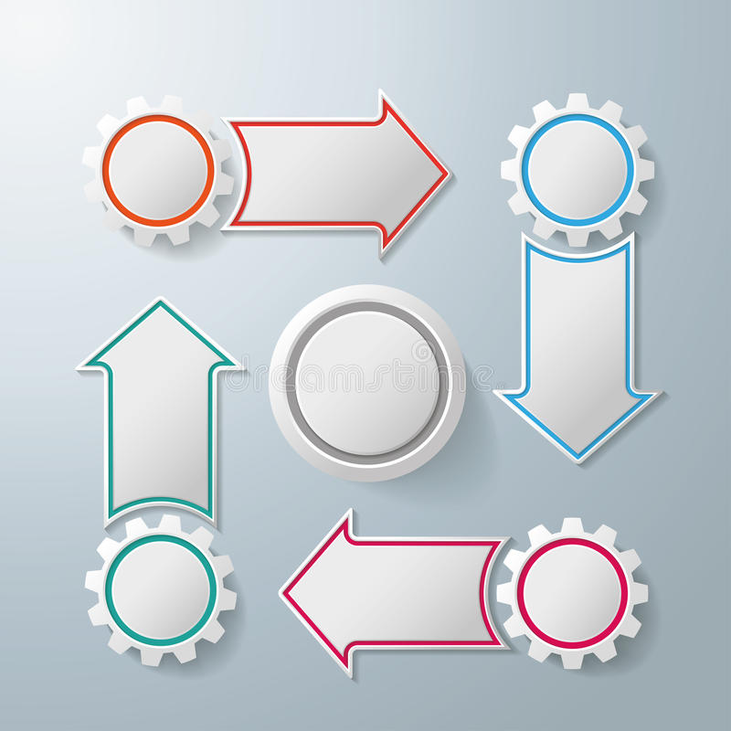 4 Gears With 4 Arrows Cycle royalty free illustration