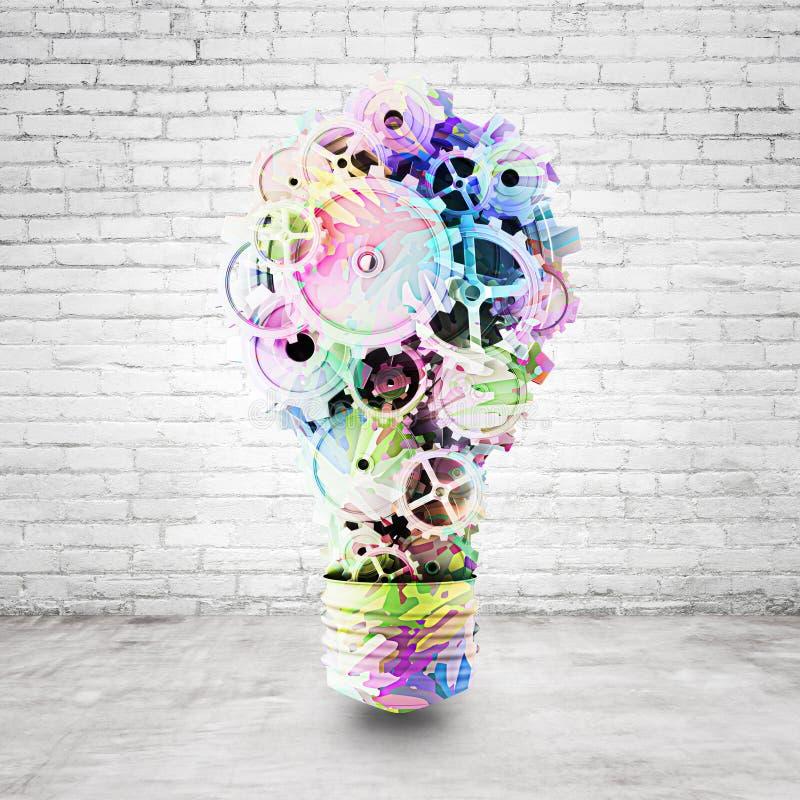 Gears. Art light bulb consisting of gears stock photo