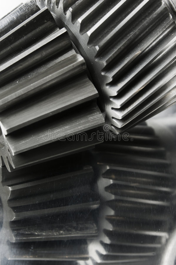 Gears and axle-close-up stock images