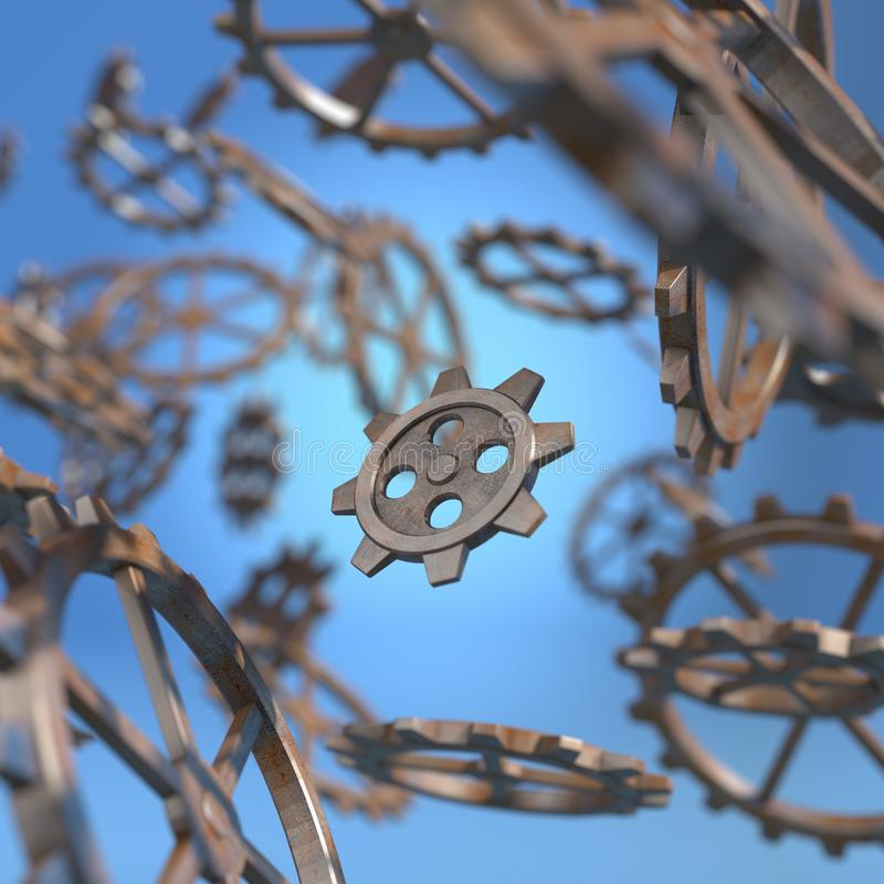 Gears background. Metal gears mechanism flying around 3d illustration stock illustration