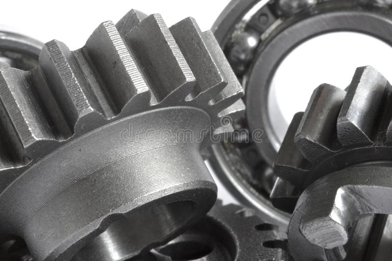 Gears and bearings. On the white background royalty free stock photography