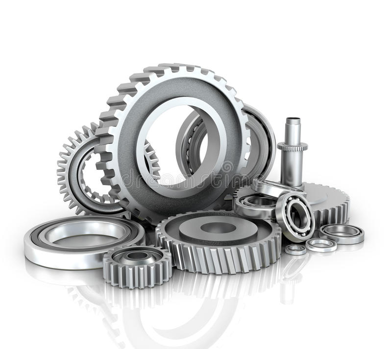 Gears and bearings isolated white background. vector illustration