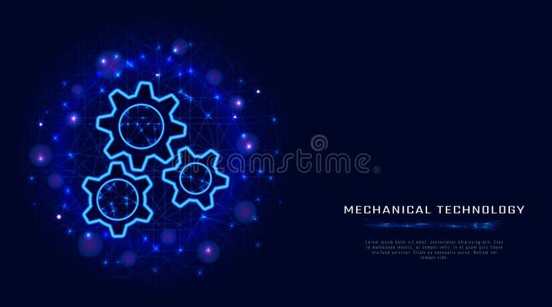 Gears begrepp Illustration för kugghjul för vektortrådram modern på abstrakt blå polygonal bakgrund Maskinlärateknologi royaltyfri illustrationer