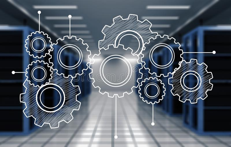 Heap of digital gears on background. Gears blue background close-up metal steel industrial stock photography