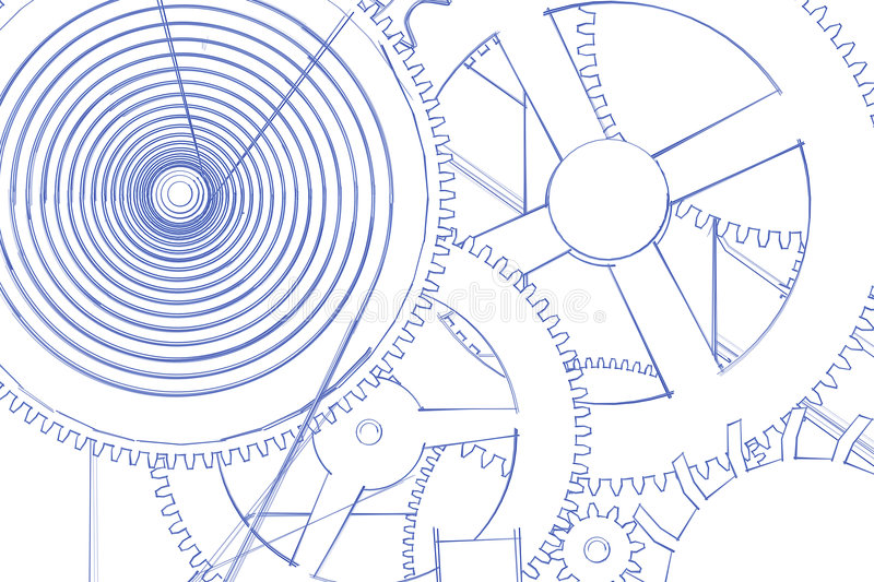 Gears in blue and white royalty free illustration