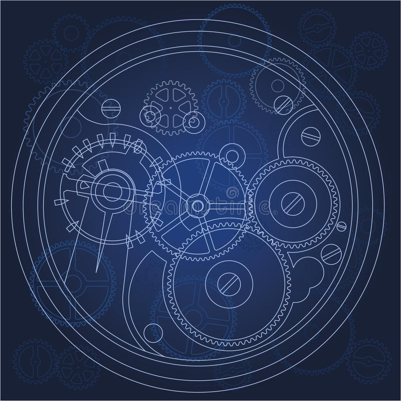 Download Gears blueprint stock vector. Image of machinery, machine - 18344699