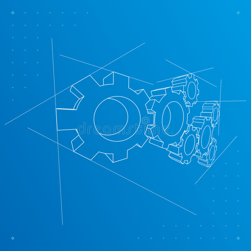 Gears blueprint background. Vector. royalty free stock image