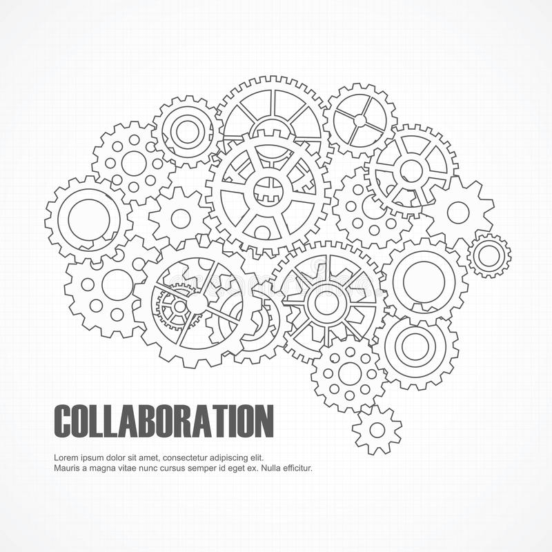 Gears brain for cooperation or teamwork royalty free illustration