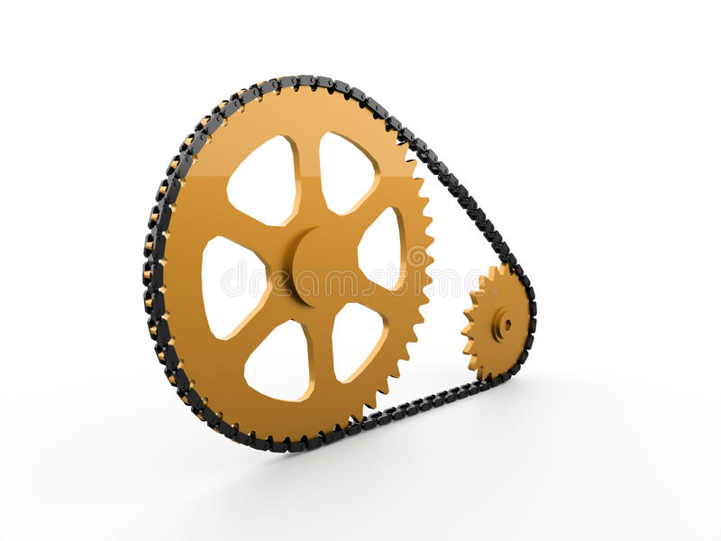 Gears with chain concept rendered. On white vector illustration