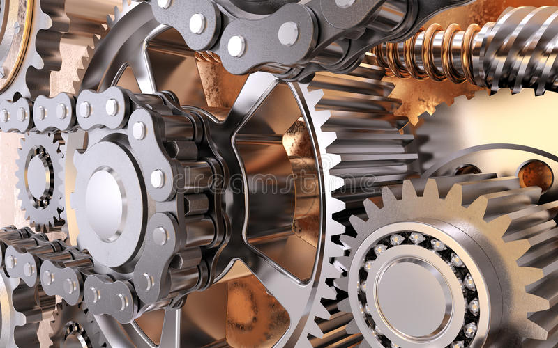 Gears with chain royalty free stock photography