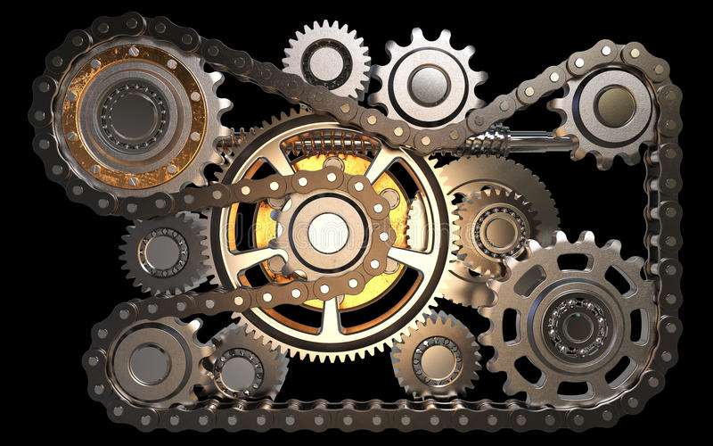 Gears with chain stock illustration