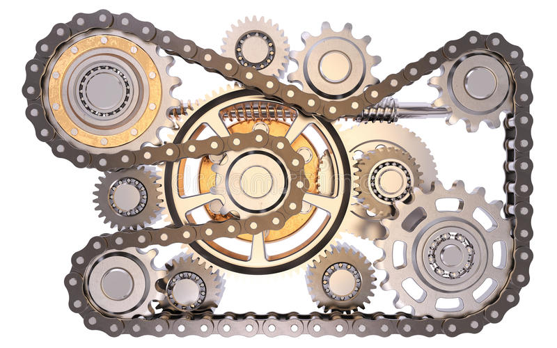 Gears with chain royalty free stock images