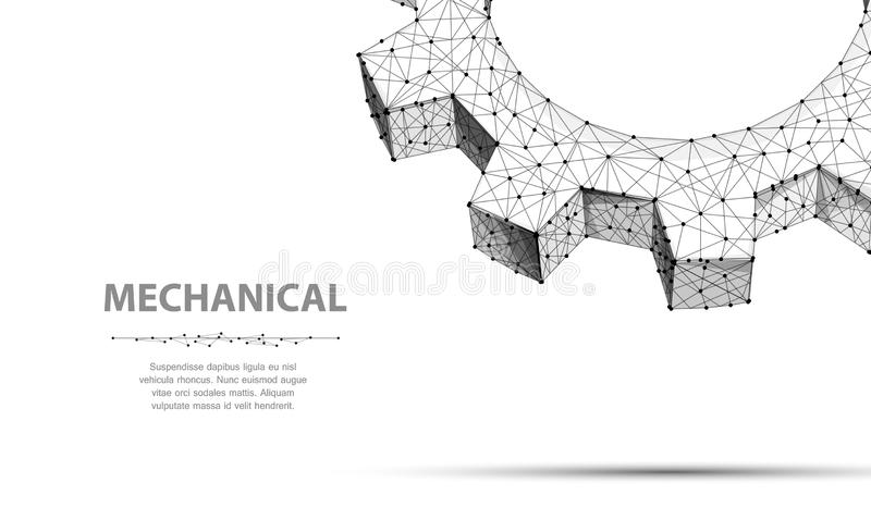 Gears. Closeup abstract vector wireframe two gear. 3d illustration isolated on white. vector illustration