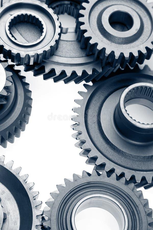 Gears. Closeup of metal cog gears stock image