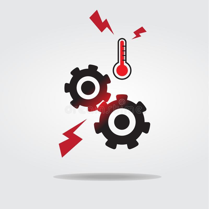 Gears or cog overheating icon vector illustration Flat design style royalty free illustration