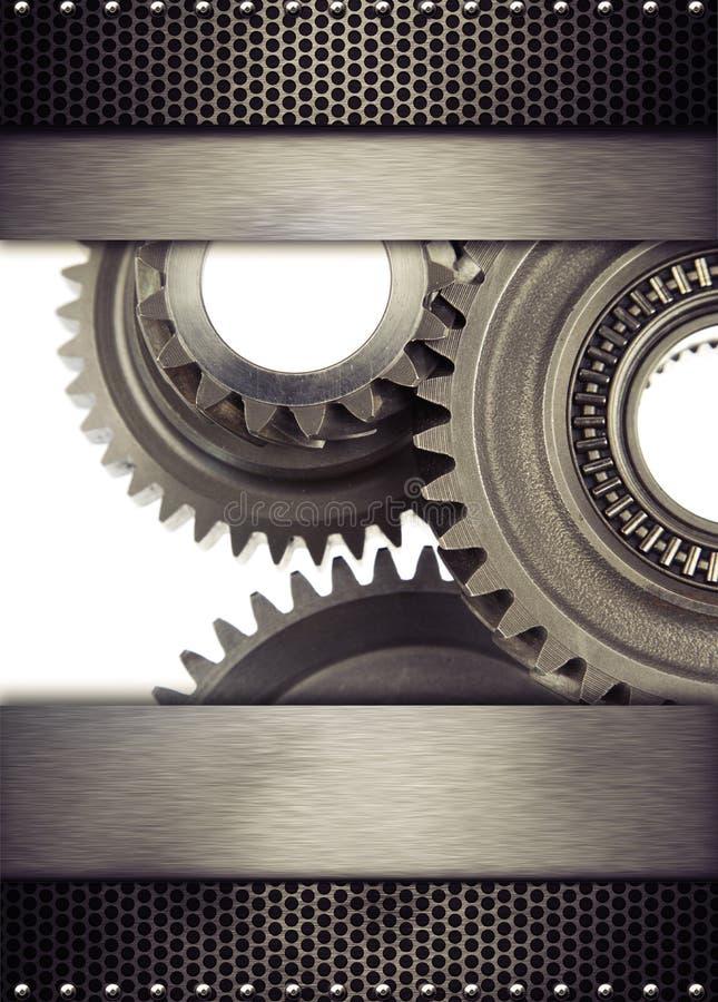 Gears. Cog wheel gears and metal borders stock images