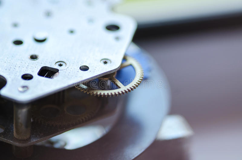 Gears and cogs macro. Sprocket background. stock image