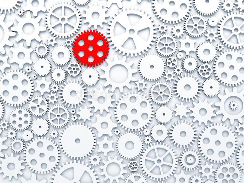 Gears and cogs with one different colored in red stock illustration