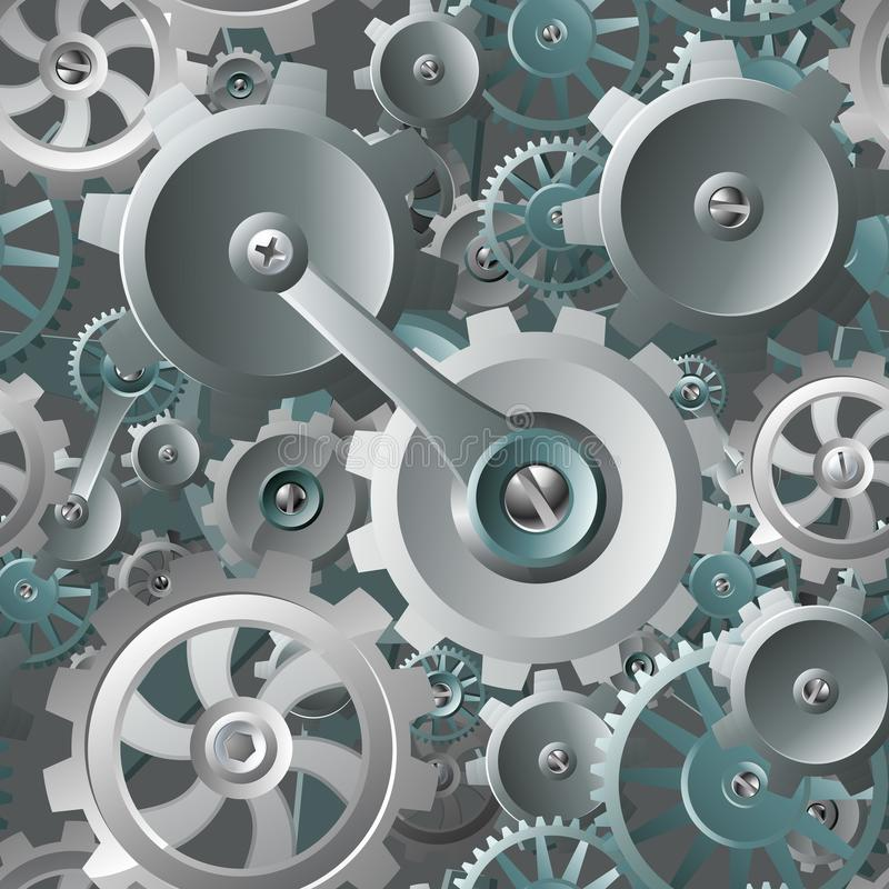 Gears and Cogs Seamless Machine Background royalty free illustration