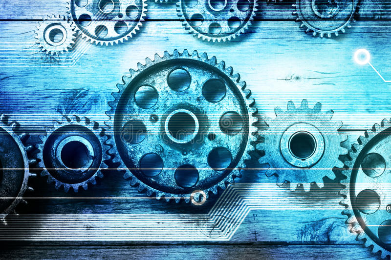 Gears Cogs Data Information Technology Background. A montage of gears, cogs and computer technology royalty free stock images