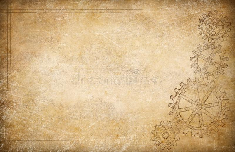 Gears and cogs vintage paper background stock illustration
