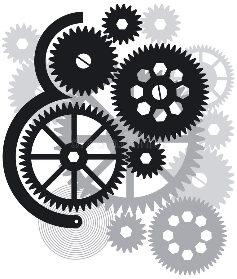 Gears, Cogs and Wheels royalty free illustration