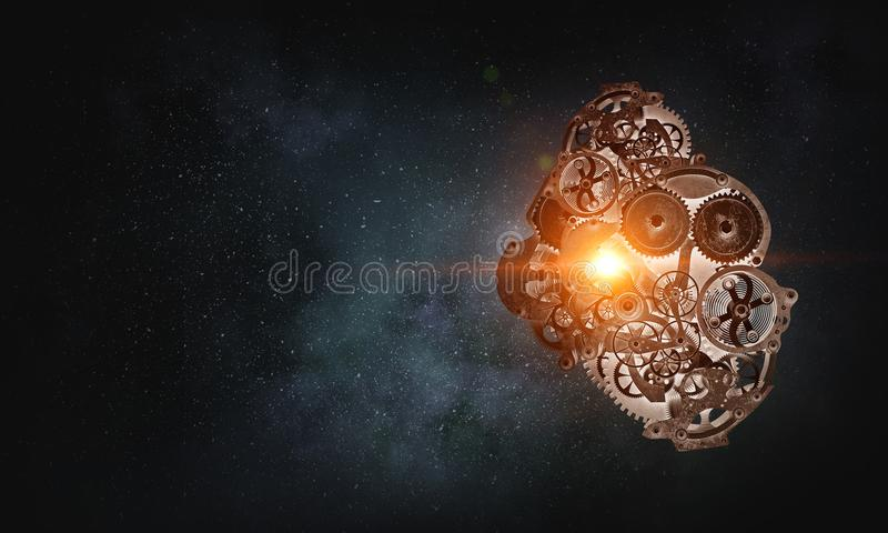 Metal gears connected. Mixed media. Gears and cogwheels mechanism floating in air. Mixed media stock photo