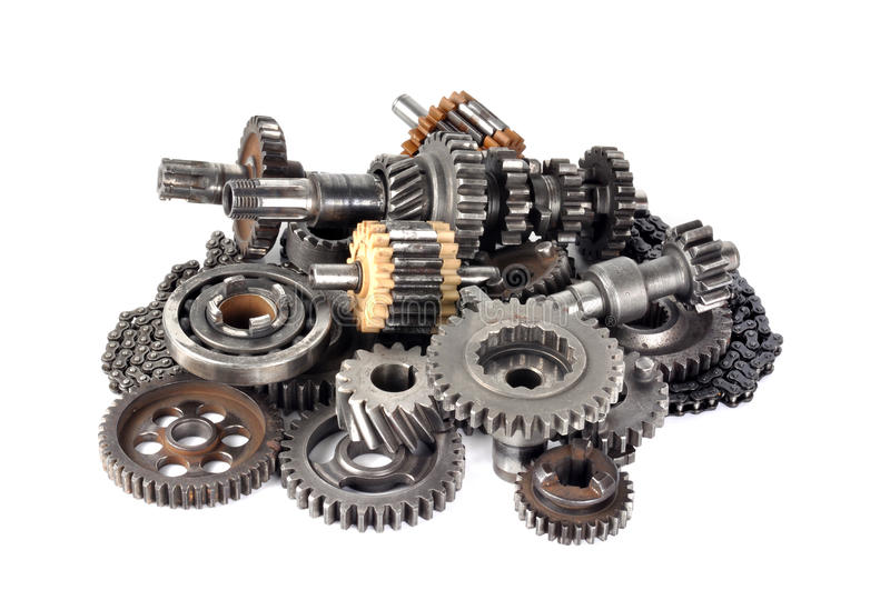 Gears collections. Cog engineering gears collections with isolated background stock photo