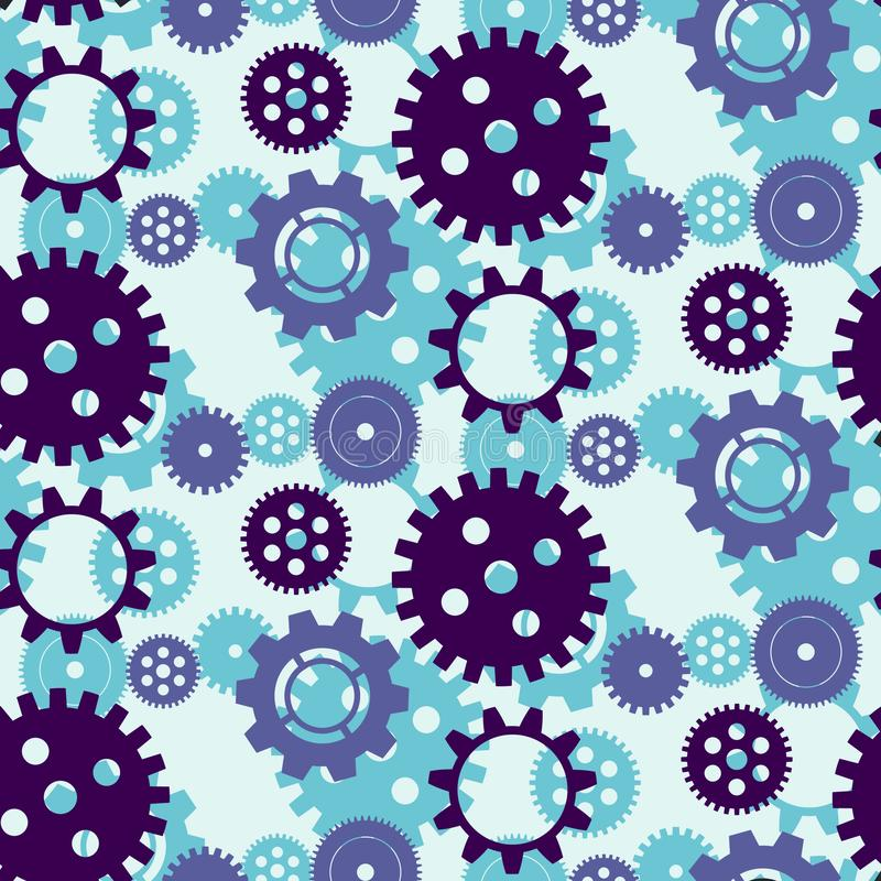 Gears, colored seamless pattern. stock illustration