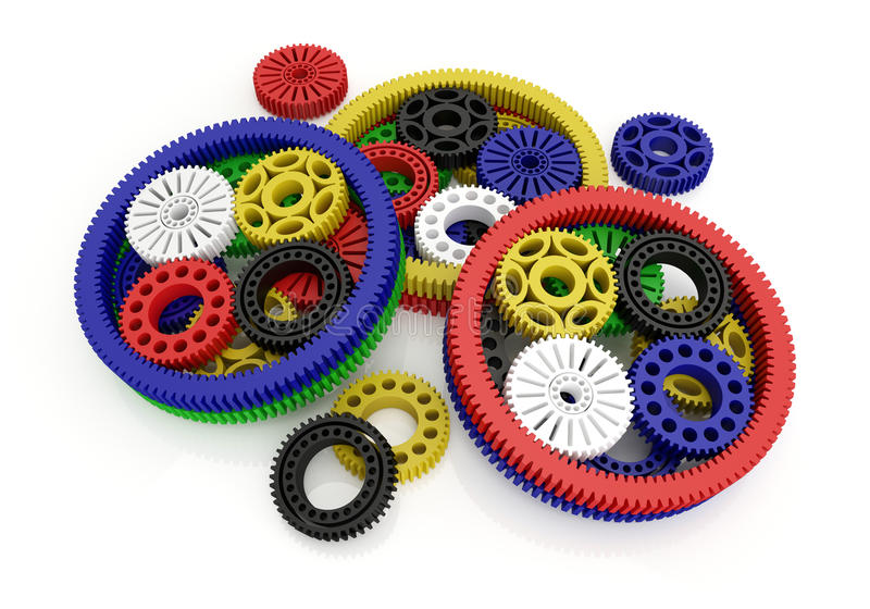 Gears colored. On white background. 3d image stock illustration