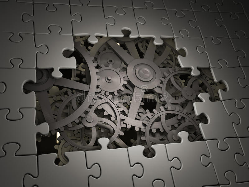 Gears coming out from underneath. Cog wheels coming out from underneath a jigsaw puzzle stock illustration