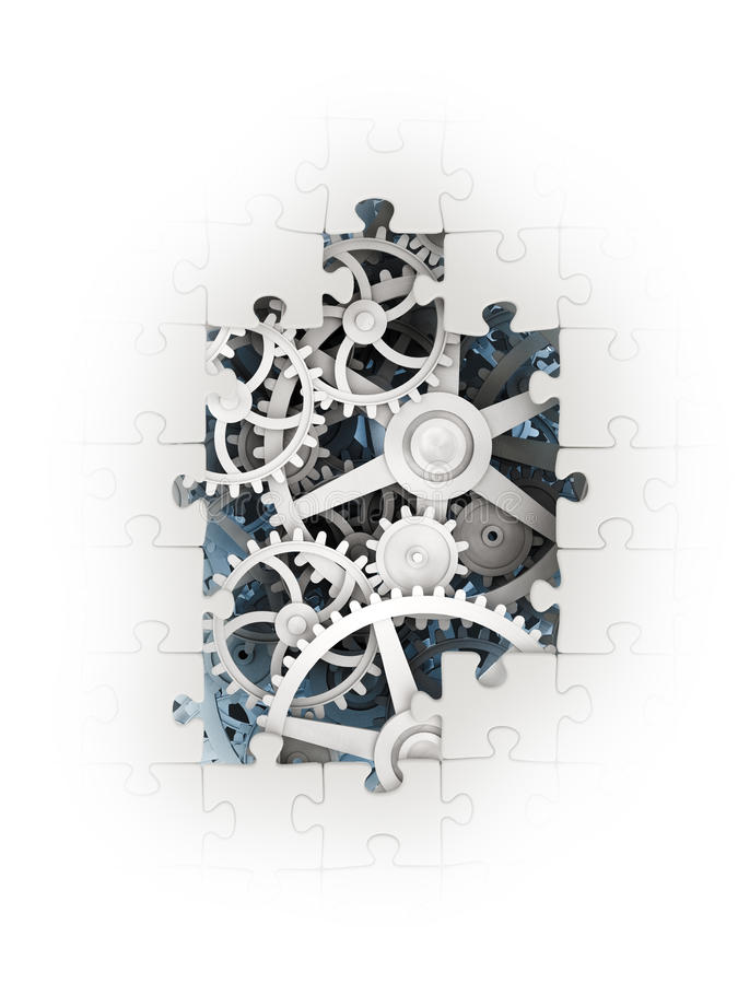 Gears coming out from underneath. Cog wheels coming out from underneath a jigsaw puzzle vector illustration