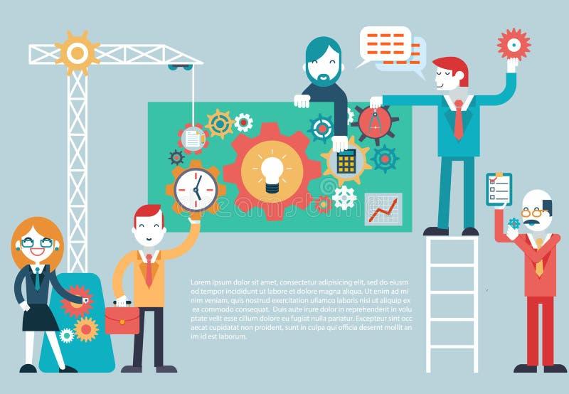 Gears Company Team Infographic. Work Businessman Director Businesswoman Designer Programmer Geek Hipster character concept icons set modern trendy flat vector stock illustration
