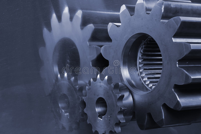 gears concept in blue royalty free stock photography