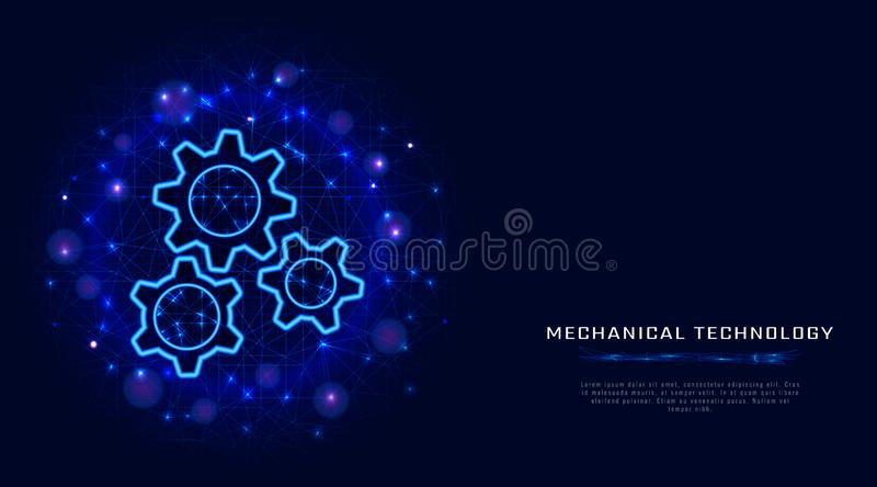 Gears concept. Vector wire frame gear modern illustration on abstract blue polygonal background. Mechanical engineering technology royalty free illustration