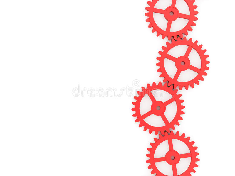 Gears concept vertical line. Isolated on white background stock illustration