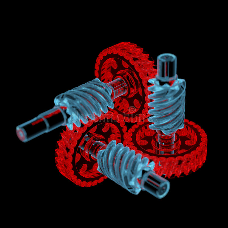 Gears (3D xray red and blue transparent) royalty free stock photography