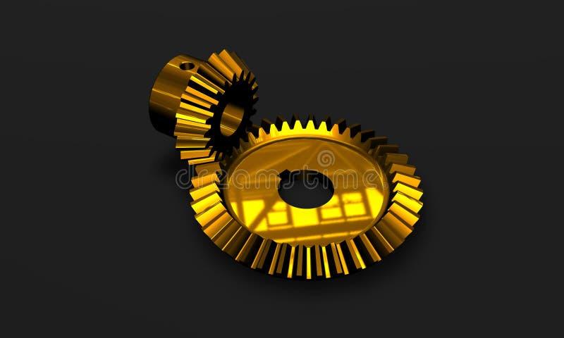 gears den guld- highen - tech royaltyfri illustrationer