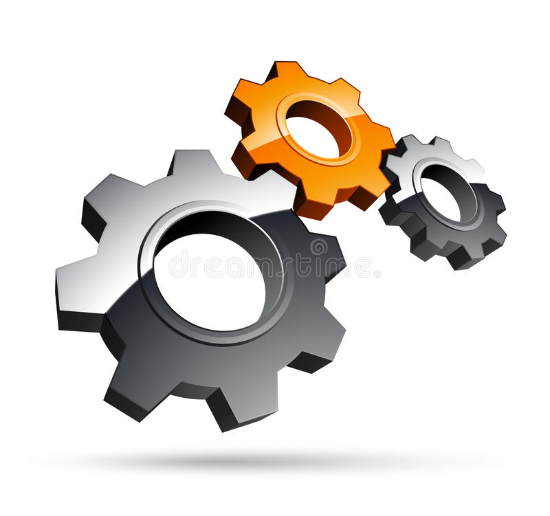 Gears design. Clipart illustration, on white stock illustration