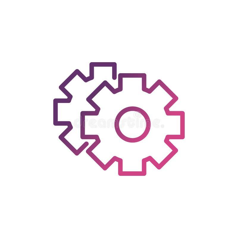 Gears die netwerk sociale media plaatsen - pictogramlijn vector illustratie