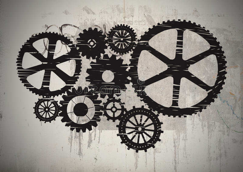 Gears. Drawed with chalk on cement background stock photos