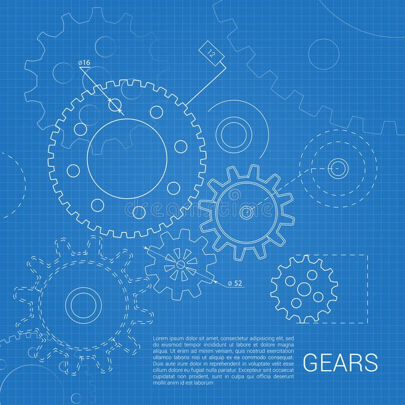 Gears drawing background stock illustration