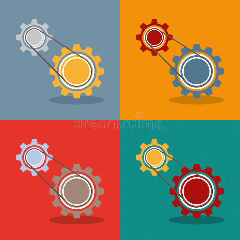 2 Gears Engine Flat Design royalty free illustration
