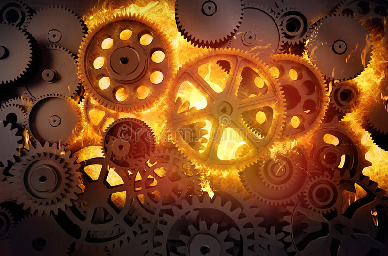 Gears in flames vector illustration