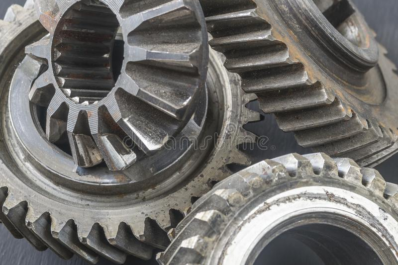 Gears of gearbox close-up. Gearbox repair. Gears of gearbox close-up. Car gearbox repair royalty free stock image