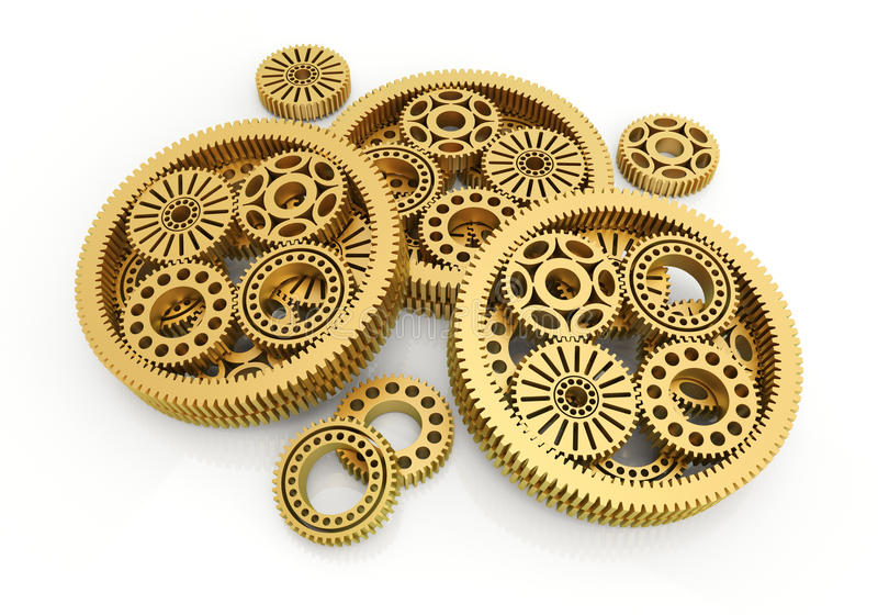 Gears gold. On white background. 3d image royalty free illustration
