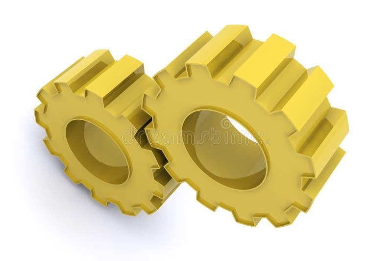 gears guld- vektor illustrationer