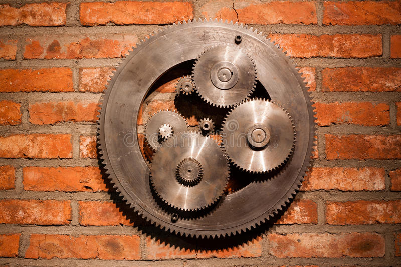 Download Gears hanging on the wall stock photo. Image of ideas - 34798478