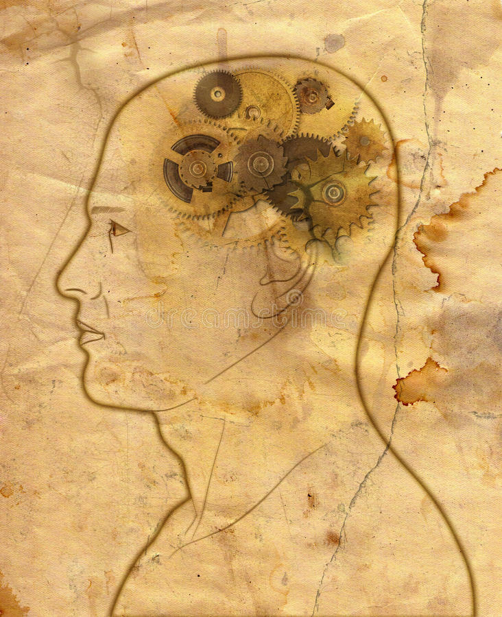 Gears In The Head. Man with gears in the head - mechanical brain - intelligence - thinking - in grunge style stock illustration